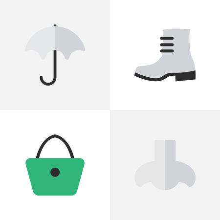 벡터 일러스트 레이 션 간단한 장비 아이콘의 집합입니다. 요소 파라솔, 부팅, 여자 가방 및 다른 동의어 비, 여자와 핸드백입니다. 일러스트
