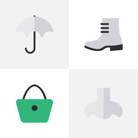 Vector Illustration Set Of Simple Equipment Icons. Elements Parasol, Boot, Woman Bag And Other Synonyms Rain, Woman And Handbag. Illustration