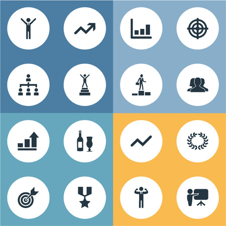 Vector Illustration Set Of Simple Success Icons. Elements Graph, Reward, First Place And Other Synonyms Lecturer, Reward And Dartboard. 版權商用圖片