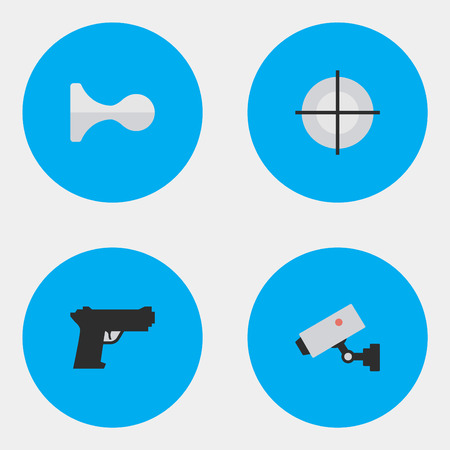 Vector Illustration Set Of Simple Offense Icons. Elements Sniper, Weapon, Hunting And Other Synonyms Horns, Sniper And Security. Ilustrace