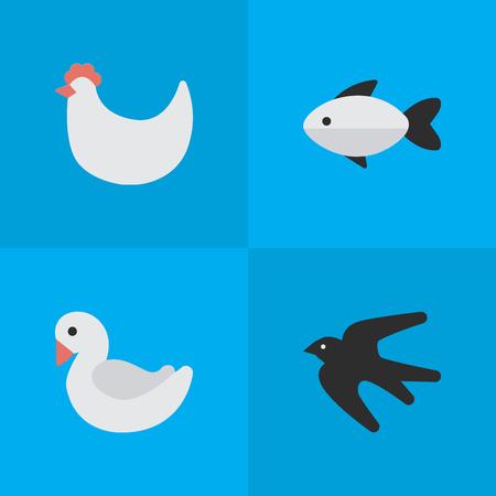Vector illustratie Set van eenvoudige dieren pictogrammen. Elements Sparrow, Cock, Perch And Other Synoniemen Seafood, Rooster And Perch. Stock Illustratie