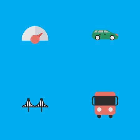 Illustration vectorielle Ensemble d'icônes de livraison simple. Éléments Bridgework, Speed, Sedan et autres synonymes Livraison, compteur de vitesse et bus. Banque d'images - 84556571