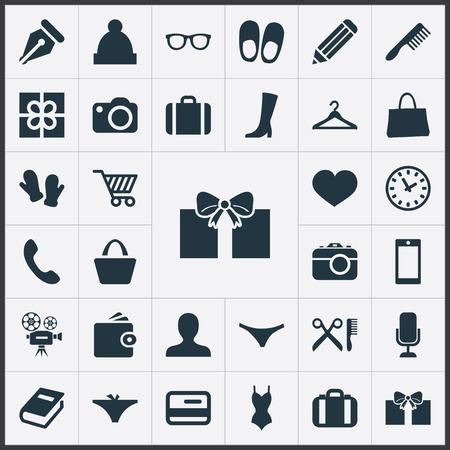 Illustration vectorielle définie des icônes d'équipement simple. Éléments valise, maillot de bain, brosse à cheveux et autres synonymes slips, voyage et crochet. Banque d'images - 84556572