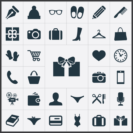 Vector Illustration Set Of Simple Equipment Icons. Elements Suitcase, Swimwear, Hairbrush And Other Synonyms Underpants, Travel And Hook.