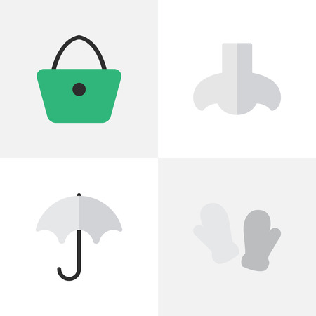 Vector Illustration Set Of Simple Instrument Icons. Elements Woman Bag, Mitten, Smell And Other Synonyms Cloth, Nose And Bag.
