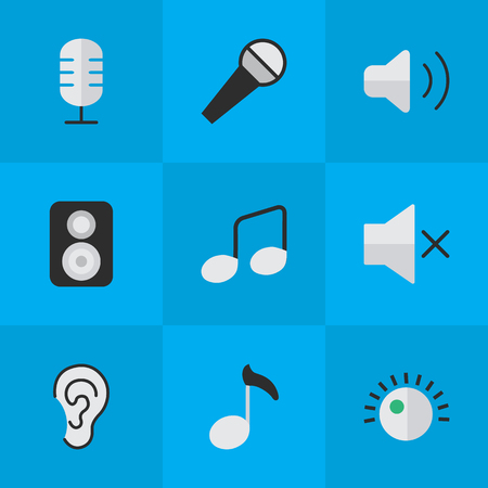 Vector Illustration Set Of Simple Melody Icons. Elements Regulator, Speaker, Mike And Other Synonyms Music, Loudspeaker And Volume.
