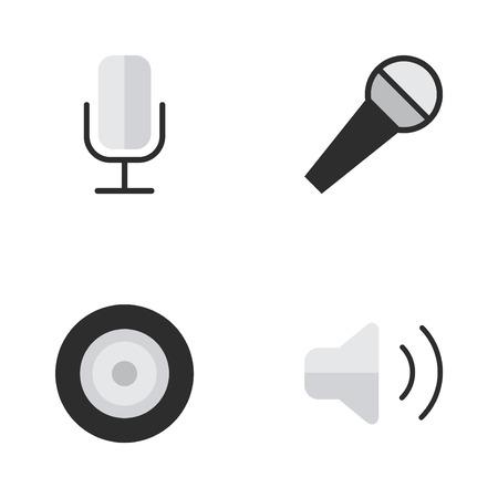 単純なメロディーのアイコンのベクトル イラスト セット。要素レコード、スピーカー、マイク、その他類義語マイク コントロールとスピーカー。