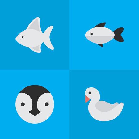 Vectorillustratiereeks Eenvoudige Dierentuinpictogrammen. Elements-baars, Zwaan, Flightless Bird en andere Synoniemenzwaan, Pinguïn en Zeevruchten.
