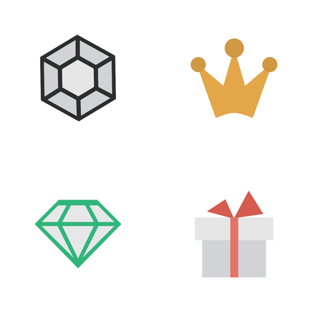 Vector Illustration Set Of Simple Champion Icons. Elements Present, Brilliant And Other Synonyms Brilliant, Crown And Present.