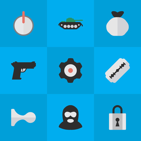 Vector Illustration Set Of Simple Offense Icons. Elements Hunting, Weapon, Cogwheel And Other Synonyms Mechanical, Military And Gear.