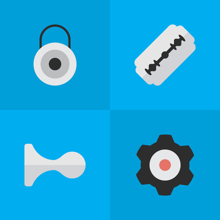 Vector Illustration Set Of Simple Criminal Icons. Elements Blade, Hunting, Lock And Other Synonyms Cogwheel, Lock And Razor. Illustration