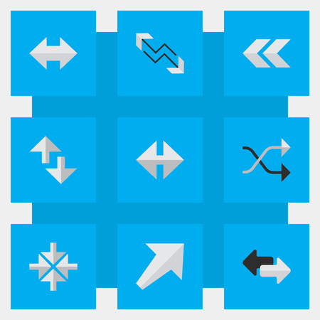 Vector Illustration Set Of Simple Indicator Icons. Elements Chaotically, Inside, Cursor And Other Synonyms Boom, Loading And Rearward.