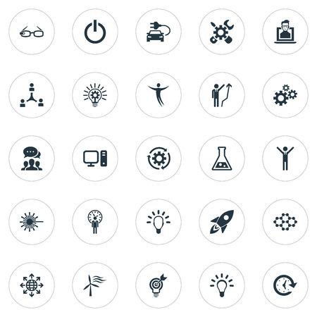 単純な創造的なアイコンのベクター イラスト セット。要素のミサイル、オフ、ハイテク眼鏡、他の同義語に、科学と明るい。  イラスト・ベクター素材
