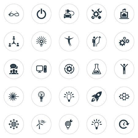 Vector Illustration Set Of Simple Creative Icons. Elements Missile, Turn Off, Hi-Tech Spectacles And Other Synonyms Turn, Science And Bright.