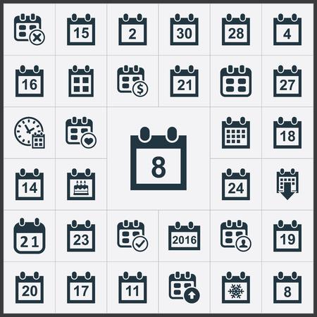 Conjunto de ilustração vetorial de ícones de plano simples. Elementos prazo, conferência, vinte e três e outro evento de sinônimos, XVII e quatro. Foto de archivo - 84556587