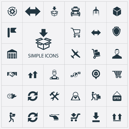 Vector Illustration Set Of Simple Logistics Icons. Elements Wheelbarrow, Employee, Transportation And Other Synonyms Marker, Repair And Warehouse.