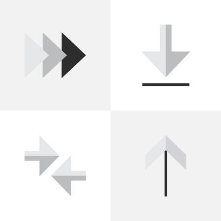 벡터 일러스트 레이 션 간단한 포인터 아이콘의 집합입니다. 요소로드, 내보내기, 앞으로 및 기타 동의어 화살표, 내보내기 및로드.