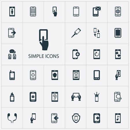 簡単な電話のアイコンのベクトル イラスト セット。要素文字、表示、他の同義語のアンチ ウイルスは、メッセージングを待たず、インターネット  イラスト・ベクター素材