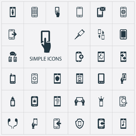 Vector Illustration Set Of Simple Telephone Icons. Elements Letter, Waiting, Display And Other Synonyms Antivirus, Messaging And Internet.