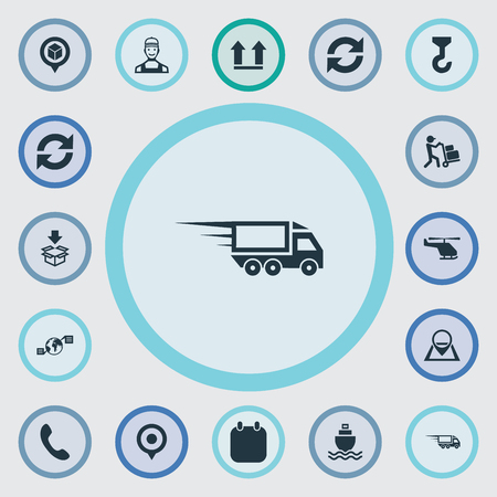 Vector Illustration Set Of Simple Logistics Icons. Elements Hook, Up Side, Location And Other Synonyms Contact, Shipping And Fast.