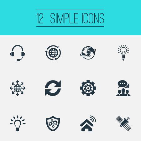 Vectorillustratiereeks Eenvoudige Innovatiepictogrammen. Elements Bright, Refresh, Shield And Other Synoniemen System, Connection and Update. Stock Illustratie
