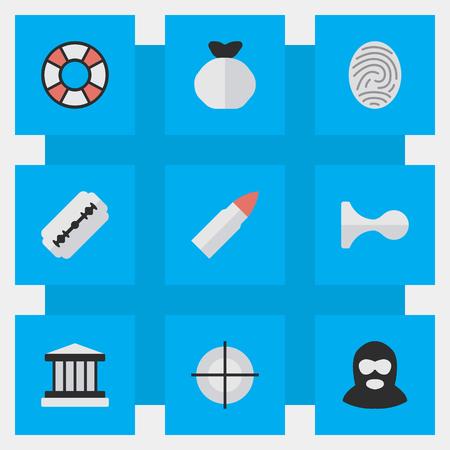 単純な犯罪アイコンのベクター イラスト セット。要素ショット、スナイパー、刑事とその他類義語裁判所、狙撃兵およびターゲット。