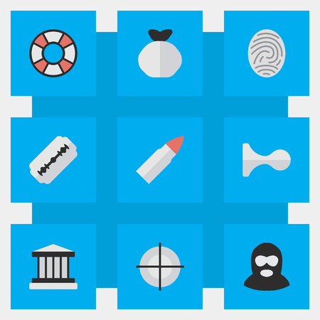Vector Illustration Set Of Simple Criminal Icons. Elements Shot, Sniper, Criminal And Other Synonyms Court, Sniper And Target. 向量圖像