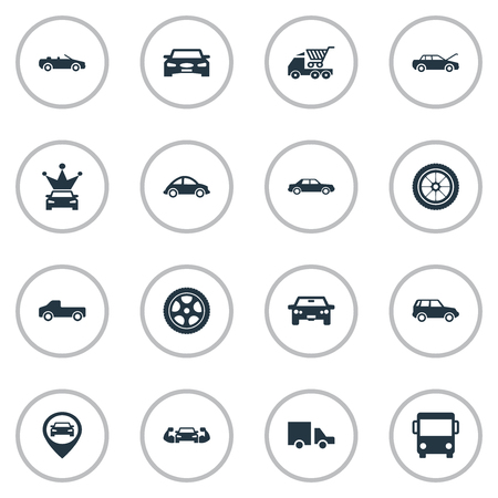 Vector Illustration Set Of Simple Car Icons. Elements Offroad, Coupe, Haulage And Other Synonyms Transportation, Auto And Shopping.