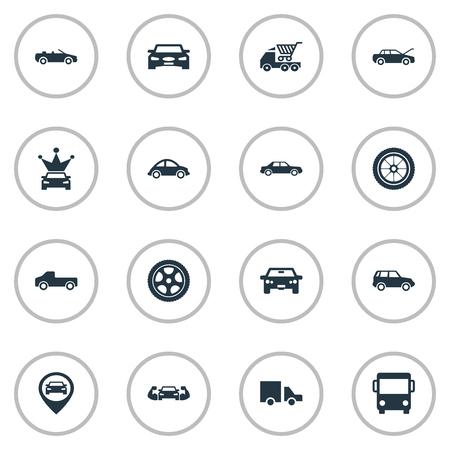 Vektor-Illustration Satz einfache Auto-Ikonen. Elemente Offroad, Coupe, Transport und andere Synonyme Transport, Auto und Einkaufen. Standard-Bild - 84556621