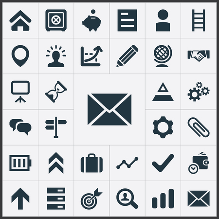 Vector Illustration Set Of Simple Startup Icons. Elements Presentation, Discussion, Strongbox And Other Synonyms House, Scientist And Energy.