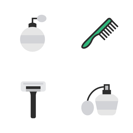 Vector Illustration Set Of Simple Hairdresser Icons. Elements Perfume, Shaver, Hairbrush And Other Synonyms Bottle, Razor And Shaver. Illustration