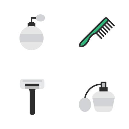 Vector Illustration Set Of Simple Hairdresser Icons. Elements Perfume, Shaver, Hairbrush And Other Synonyms Bottle, Razor And Shaver. Ilustração