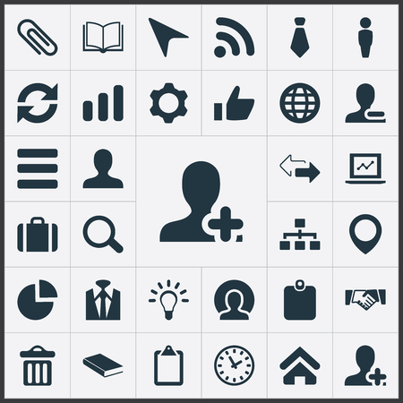 Vector illustratie Set van eenvoudige conferentie iconen. Wereldwijd succeselementen, vuilnisbak, notitieblok en andere synoniemenhiërarchie, opgaande en groei. Stock Illustratie