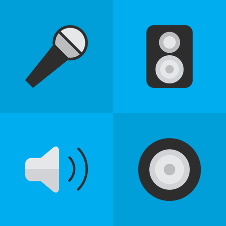 loudness: Vector Illustration Set Of Simple Sound Icons. Elements Speaker, Loudness, Loudspeaker And Other Synonyms Amplifier, Loudspeaker And Mike.