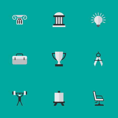 Vector Illustration Set Of Simple Education Icons. Elements Armchair, Column, Briefcase And Other Synonyms Seat, Briefcase And Measurement. 向量圖像