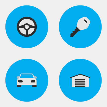 Vector Illustration Set Of Simple Traffic Icons. Elements Open, Shed, Sport And Other Synonyms Car, Shed And Sport. Illustration
