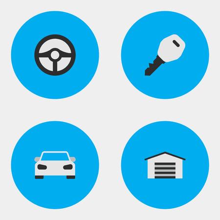 Vector ilustración conjunto de iconos de tráfico simple. Elementos abiertos, cobertizo, deporte y otros sinónimos Coche, cobertizo y deporte. Foto de archivo - 84556648
