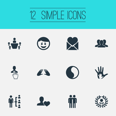 Vector Illustration Set Of Simple Friends Icons. Elements Mail With Heart, Merry, Conference And Other Synonyms Heart, Smile And Valentine.