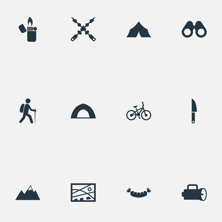 Vector Illustration Set Of Simple Tourism Icons. Elements Lantern, Field Glasses, Kebab And Other Synonyms Camper, Meat And Glasses.