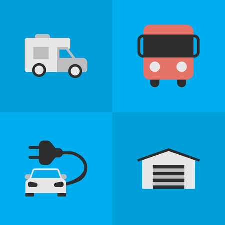 Vector Illustration Set Of Simple Traffic Icons. Elements Autobus, Shed, Charge And Other Synonyms Shed, Bus And Van.