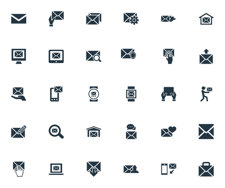 Vector Illustration Set Of Simple Message Icons. Elements Postal Box, Receiver, Message And Other Synonyms Protected, Letter And Cursor.