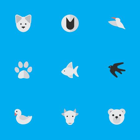 Vector Illustratie Set Van Eenvoudige Fauna Pictogrammen. Elementen Wolf, Panda, Kine Synoniemen Koe, Hond En Kine.