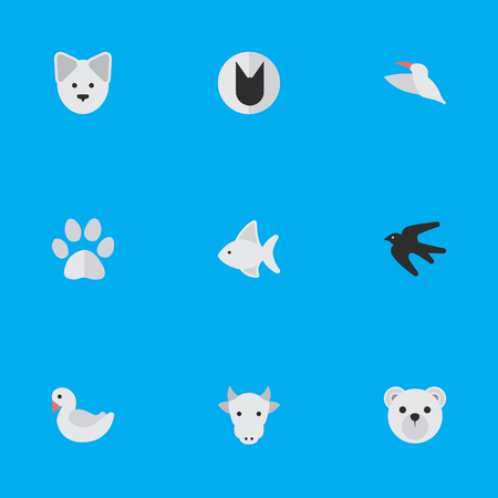 Vector Illustration Set Of Simple Fauna Icons. Elements Wolf , Panda , Kine Synonyms Cow, Dog And Kine.