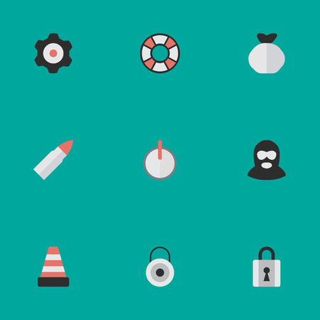 Vector Illustration Set Of Simple Offense Icons. Elements Isolated, Lock, Cogwheel And Other Synonyms Warning, Key And Cogwheel.