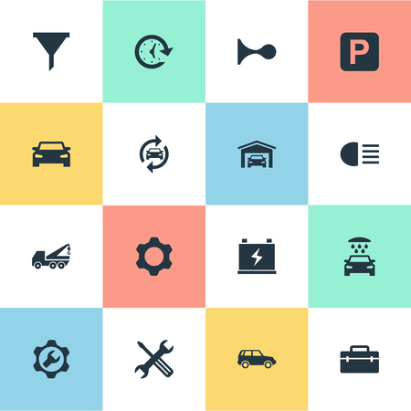 Vector Illustration Set Of Simple Car Icons. Elements Toolbox, Workshop, Accumulator And Other Synonyms Repair, Filter And Beam.