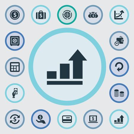 Vector illustratie Set van eenvoudige geld pictogrammen. Elementen vergroten grafiek, rente, besparing en andere synoniemenfinanciering, succes en volledig.