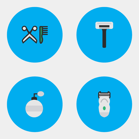 Vector Illustration Set Of Simple Hairdresser Icons. Elements Comb, Electronic, Shaver And Other Synonyms Electronic, Scissors And Machine. Illustration