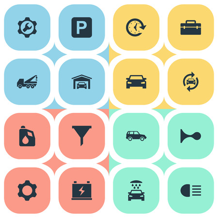 Vector Illustration Set Of Simple Automobile Icons. Elements Toolbox, Filter, Siren And Other Synonyms Alert, Garage And Filter. Фото со стока - 84556664