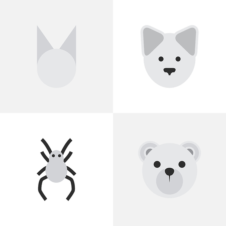 Vector Illustration Set Of Simple Fauna Icons. Elements Wolf , Tarantula , Panda Synonyms Panda, Wolf And Widow.