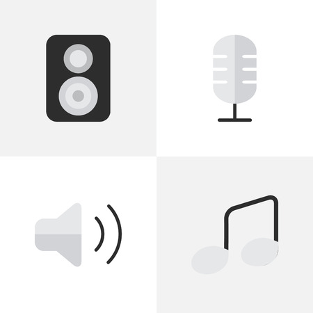 Vector Illustration Set Of Simple Melody Icons. Elements Speaker, Music Sign, Loudness And Other Synonyms Speaker, Music And Sign.